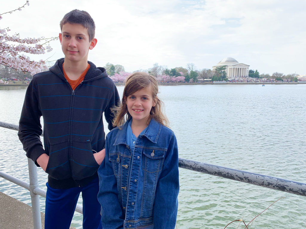 Sam and Sasha at the Tidal Basin